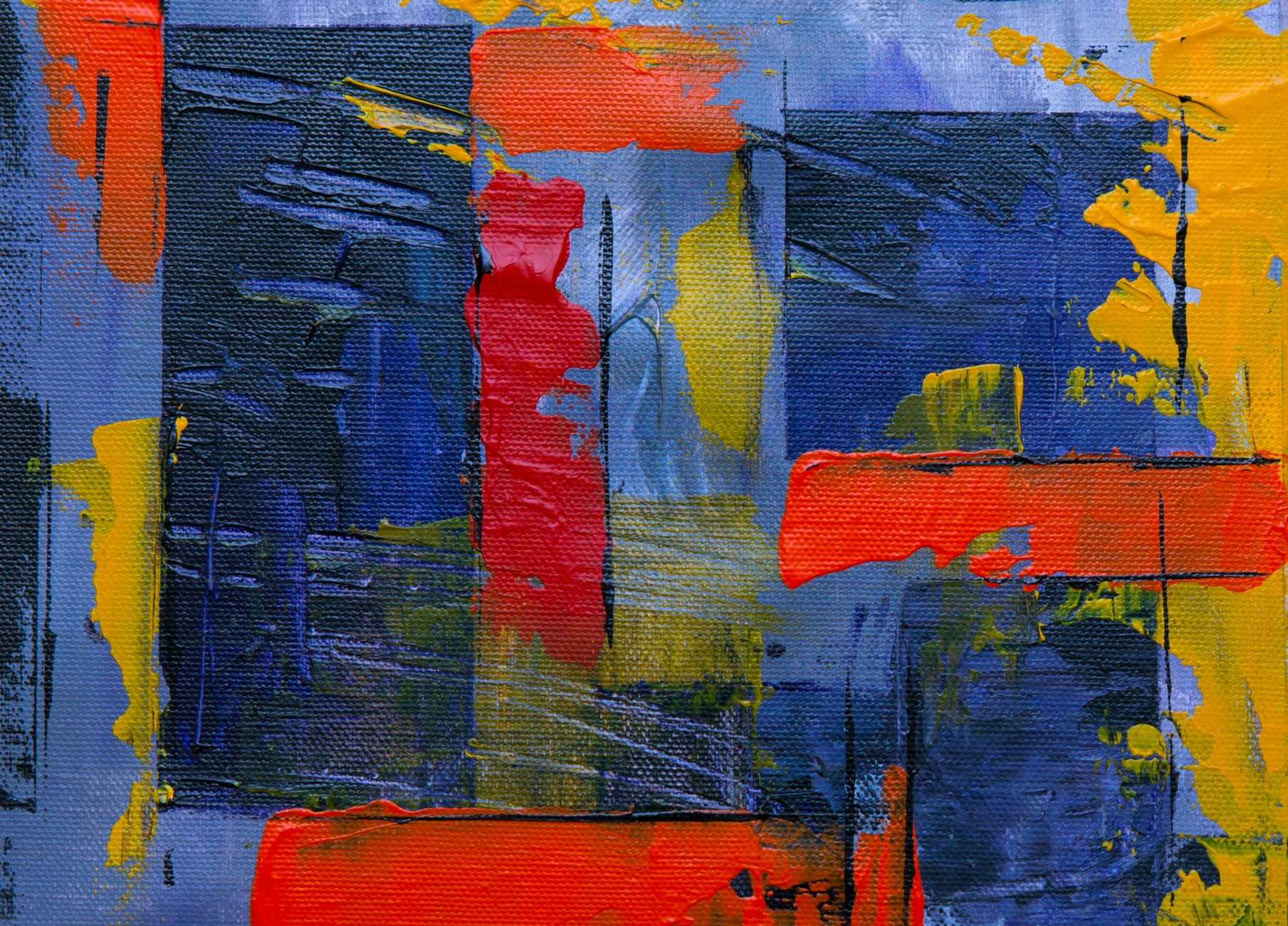blue red and yellow abstract painting